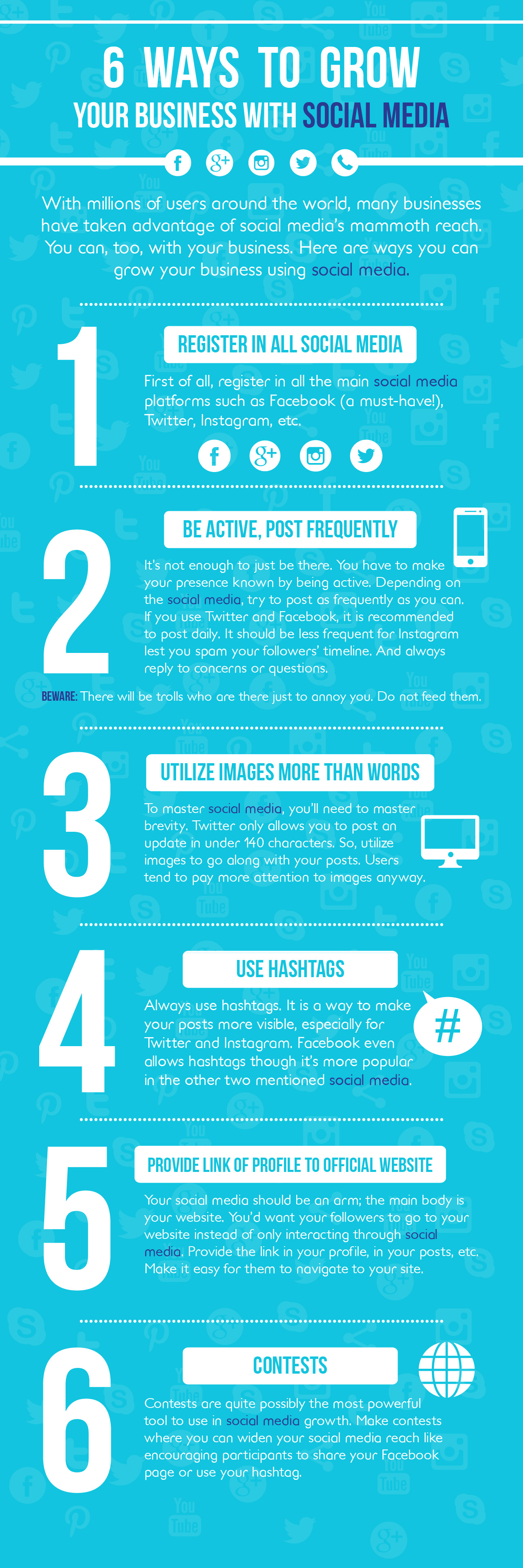 6 wys to grow your business with social media inforgraphic